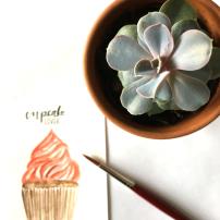 Watercolor Cupcake